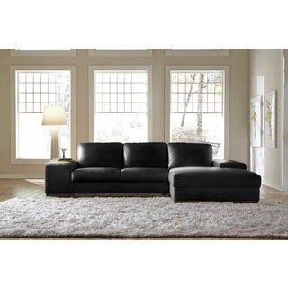 Lazzaro Leather Sussex Black Sectional Sofa
