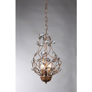 Lola 3-light Crystal 11-inch Copper-finish Chandelier