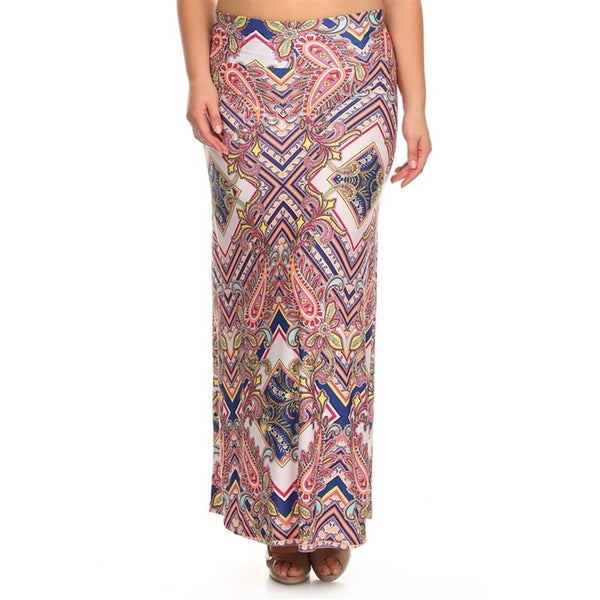Women's Plus Size Pink and Navy Multi Skirt