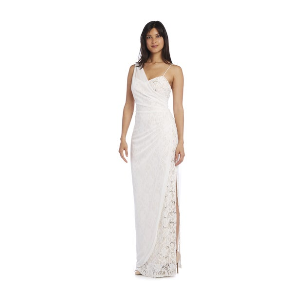 Morgan & Co Women's Off-White Sequin Lace Gown