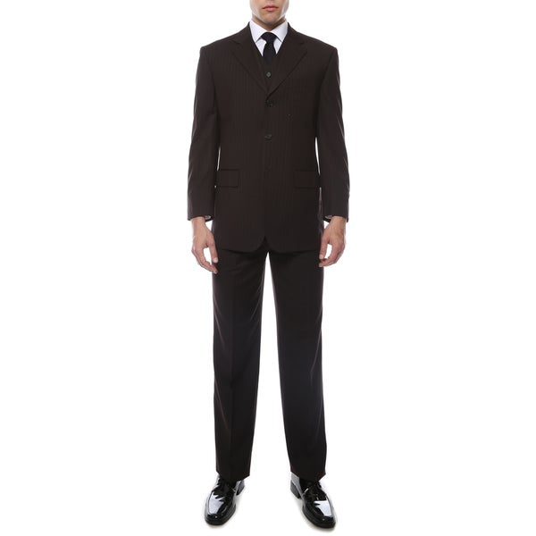 Ferrecci Men's Brando Black Pinstripe Regular Fit 3-Piece Suit