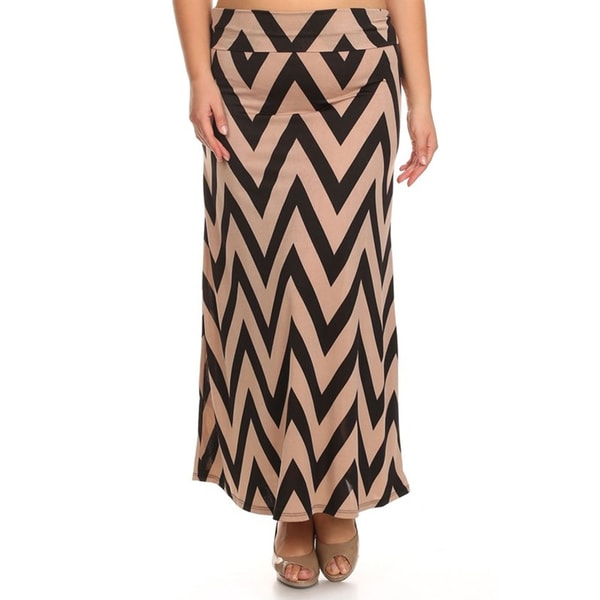 Women's Plus Size Black and Khaki Chevron Skirt