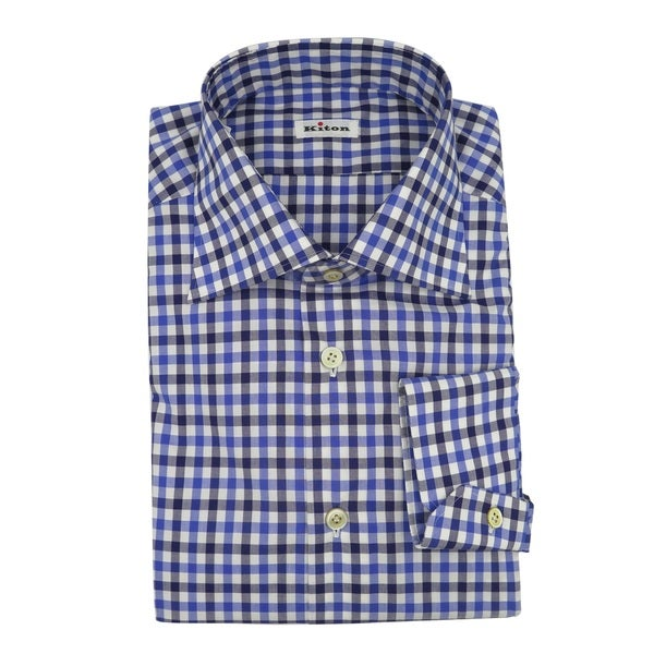 Kiton Men's Blue Check Casual Dress Shirt