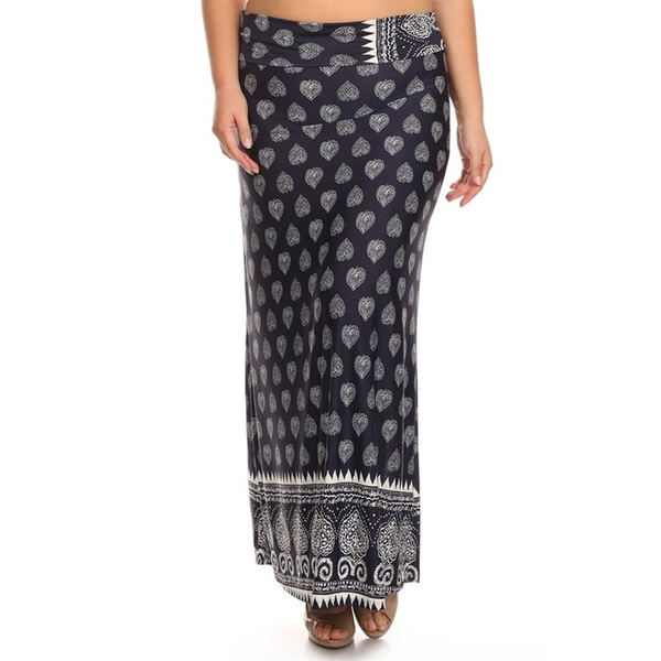 Women's Plus Size Pattern Print Maxi Skirt