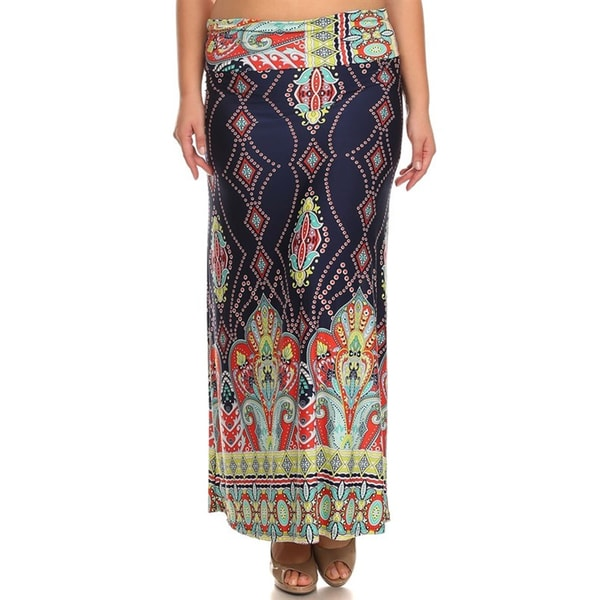 Women's Plus Size Border Multi Maxi Skirt