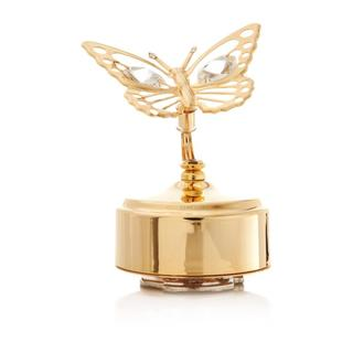 24k Goldplated Matashi Crystals Butterfly Music Box