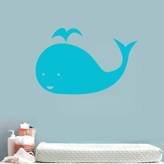 Whale Wall Decal 24 inches wide x 16 inches tall