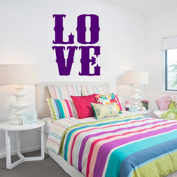 LOVE Wall Decal 12 inches wide x 15 inches tall