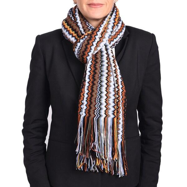 Missoni Classic Brown Zigzag Knit Scarf