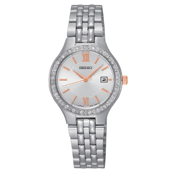 Seiko Ladies SUR759 Stainless Steel Silver Tone Water Resistant Watch with Swarovski Crystals