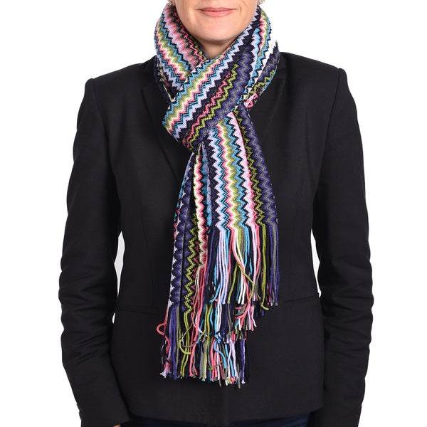 Missoni Classic Purple Zigzag Knit Scarf