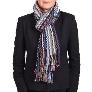 Missoni Classic Purple Zigzag Knit Scarf