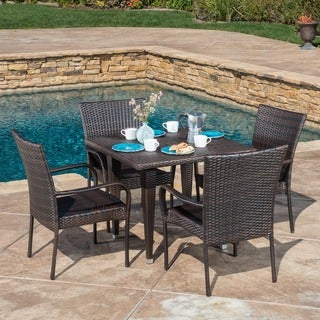 Outdoor Delani 5-piece Wicker Dining Set by Christopher Knight Home