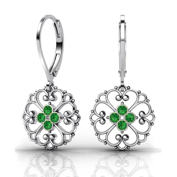 Lucia Costin Sterling Silver Green Swarovski Crystal Fancy Dot Earrings