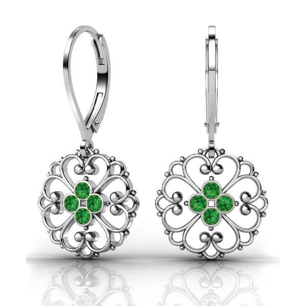 Lucia Costin Sterling Silver Green Swarovski Crystal Fancy Dot Earrings