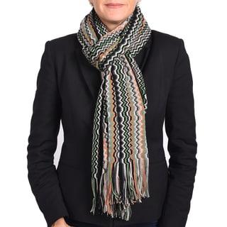 Missoni Grey/ Green Classic Zigzag Knit Scarf