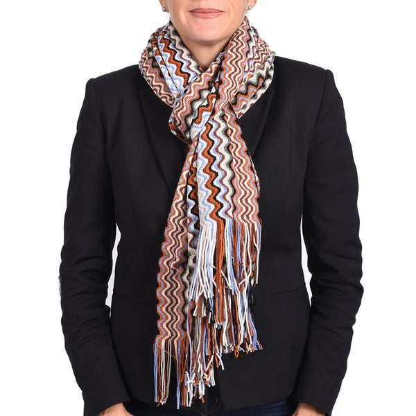 Missoni Classic Brown/ Orange Zigzag Knit Scarf