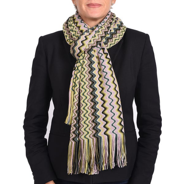 Missoni Classic Green Multi Zigzag Knit Scarf