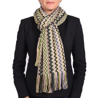 Missoni Classic Green Multi Zigzag Knit Scarf