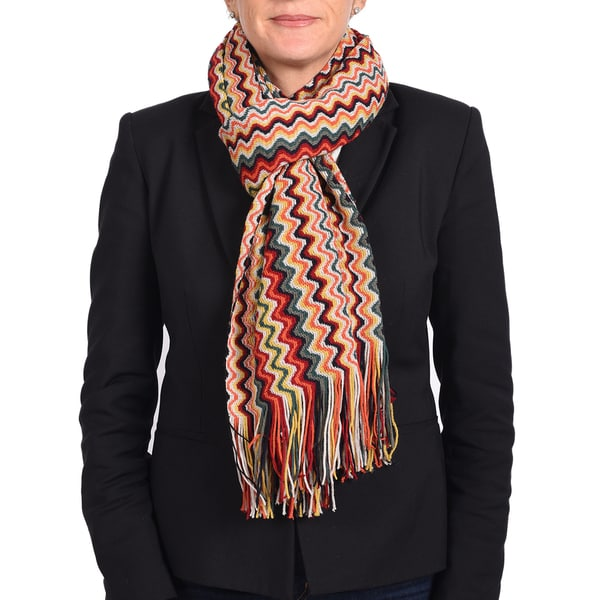 Missoni Classic Red/ Yellow Zigzag Knit Scarf