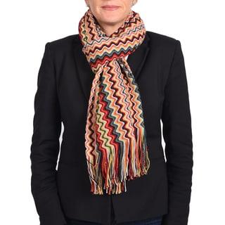 Missoni Classic Red/ Yellow Zigzag Knit Scarf