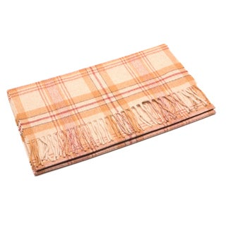 Ermenegildo Zegna Men's Beige Cashmere and Wool Plaid Scarf