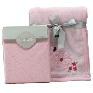 Nurture Pink Floral Nursery Plush Blanket and Changing Pad Cover Set