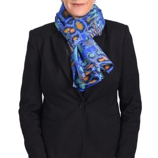 Roberto Cavalli Blue Snake Print Silk Scarf