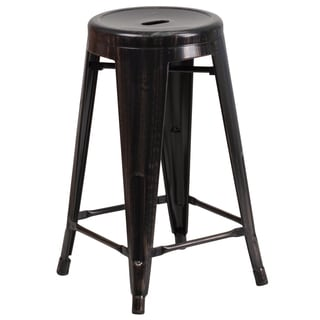 24-inch High Backless Metal Indoor-Outdoor Counter Height Stool with Round Seat