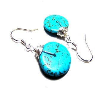 Blue Coin Turquoise Wired Wrap Hook Drop Earrings