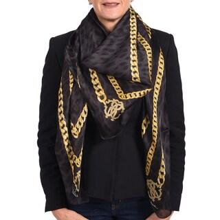 Roberto Cavalli Black Silk Scarf