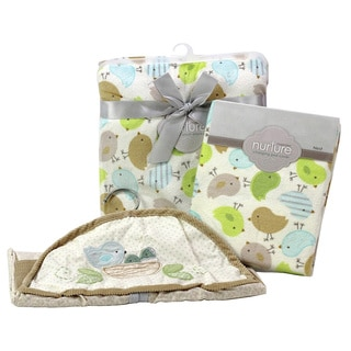 Nurture Nesting Birdies Nursery Plush Blanket, Changing Pad Cover and Diaper Stacker Set