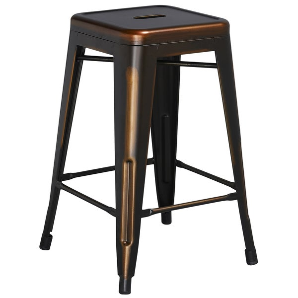 24 inch high backless distressed metal indoor counter height stool 18184820. Black Bedroom Furniture Sets. Home Design Ideas