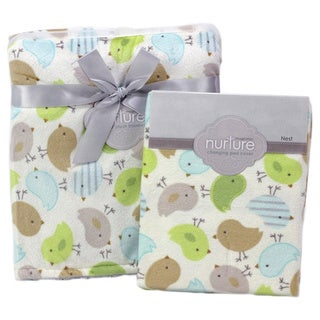 Nurture Nesting Birdies Nursery Plush Blanket and Changing Pad Cover Set