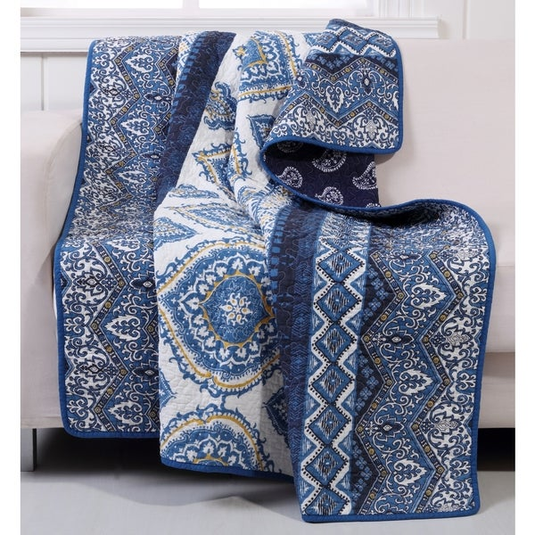 Medina Indigo Quilted Cotton Throw