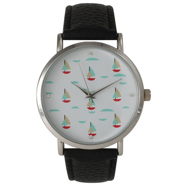 Olivia Pratt Colorful Small Sailboats Leather Watch