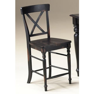 Roanoke Black Hand Rubbed 24-inch X-Back Barstool (Set of 2)