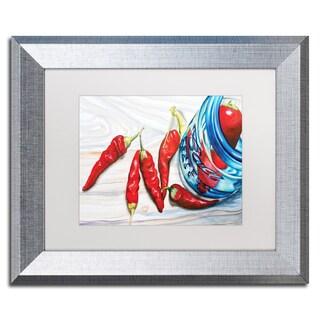 Jennifer Redstreake 'Ball Jar Peppers' White Matte, Silver Framed Wall Art