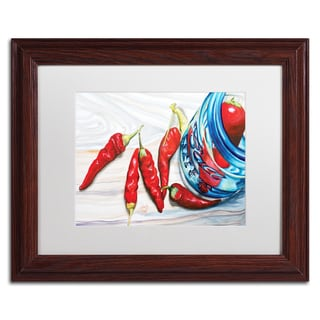 Jennifer Redstreake 'Ball Jar Peppers' White Matte, Wood Framed Wall Art