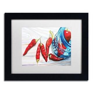 Jennifer Redstreake 'Ball Jar Peppers' White Matte, Black Framed Wall Art