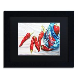 Jennifer Redstreake 'Ball Jar Peppers' Black Matte, Black Framed Wall Art