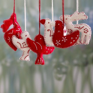 Set of 6 Handcrafted Wool 'Christmas Wishes' Ornaments (India)