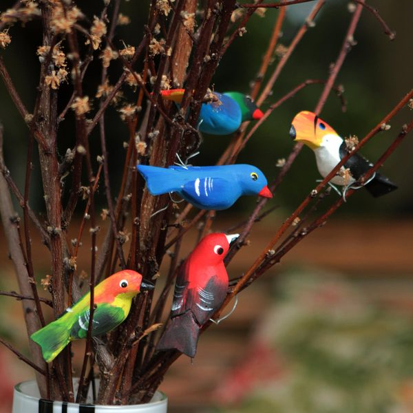 Set of 5 Pinewood 'Birds in My Garden' Ornaments (Brazil)