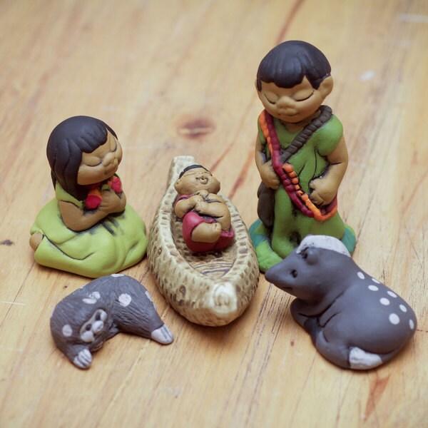 Set of 6 Ceramic 'An Ashaninka Christmas' Nativity Scene (Peru)