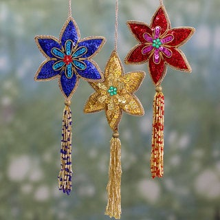 Set of 3 Handcrafted Beaded 'Poinsettia' Ornaments (India)