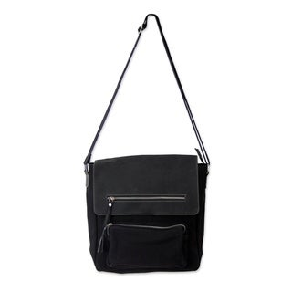 Leather Cotton 'Black Pockets Aplenty' Messenger Bag (India)