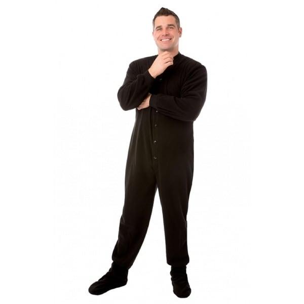 Unisex Black Fleece Adult Footed Pajamas Footie with Drop Seat
