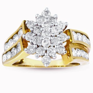 Eloquence 10k Yellow Gold 2ct TW Diamond Cocktail Ring (K-L, I2)