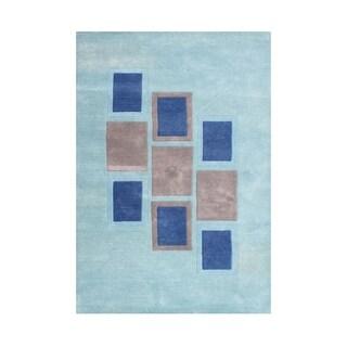Alliyah Handmade Sea Blue New Zealand Wool Blend Rug (5' x 8')