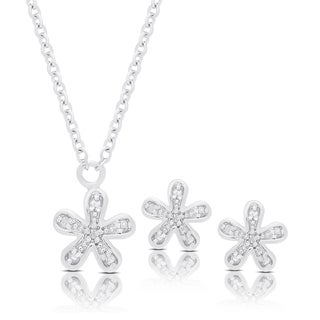 Finesque Sterling Silver Diamond Accent Flower Necklace and Earrings Set